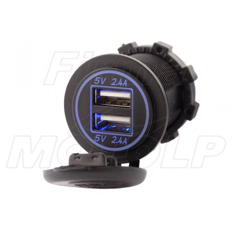 MOTOCYKLOWE GNIAZDO 2X USB PODŚWIETLANE 12V 24V