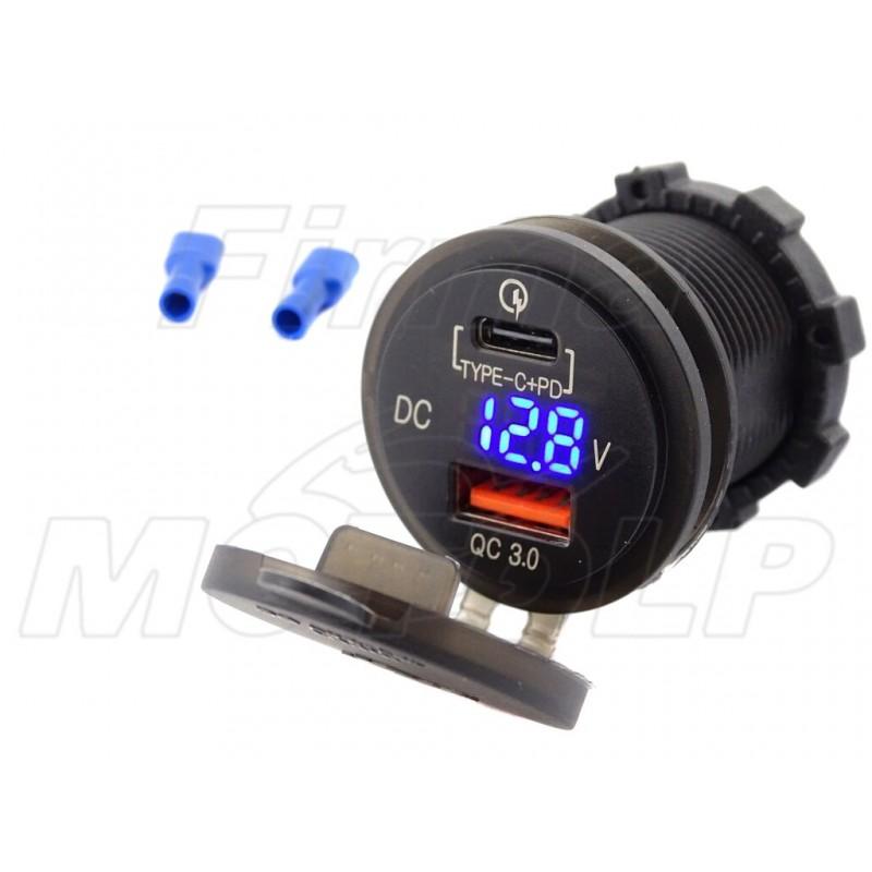 MOTOCYKLOWE GNIAZDO USB typ-C + QC3.0 USB WOLTOMIERZ 12V 24V