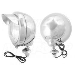 REFLEKTORY LIGHTBARY LAMPY PRZÓD CHROMOWANE 4,5 CALA KOMPLET