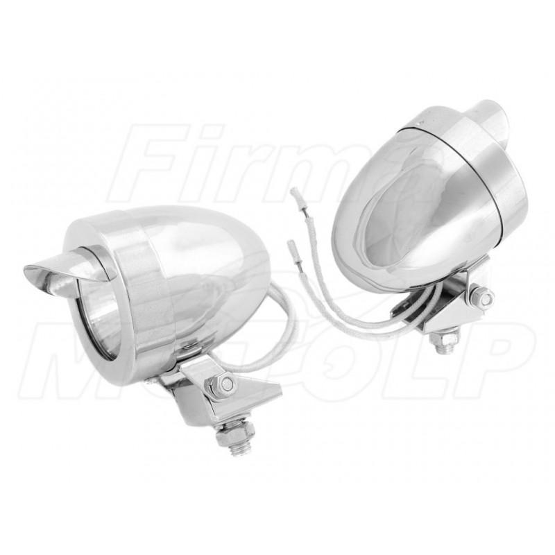 MINI REFLEKTORY PRZÓD LAMPY LIGHTBARY CHROM METAL HALOGENY 12V 20W