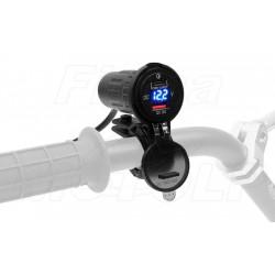 MOTOCYKLOWE GNIAZDO USB QC3.0 / TYP-C WOLTOMIERZ 12V 24V